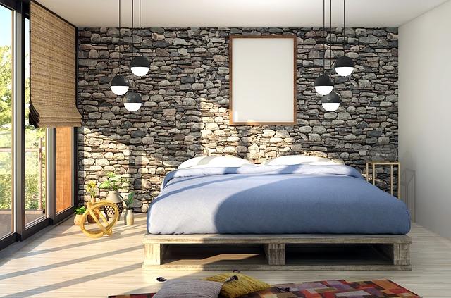 kamenná zeď ložnice